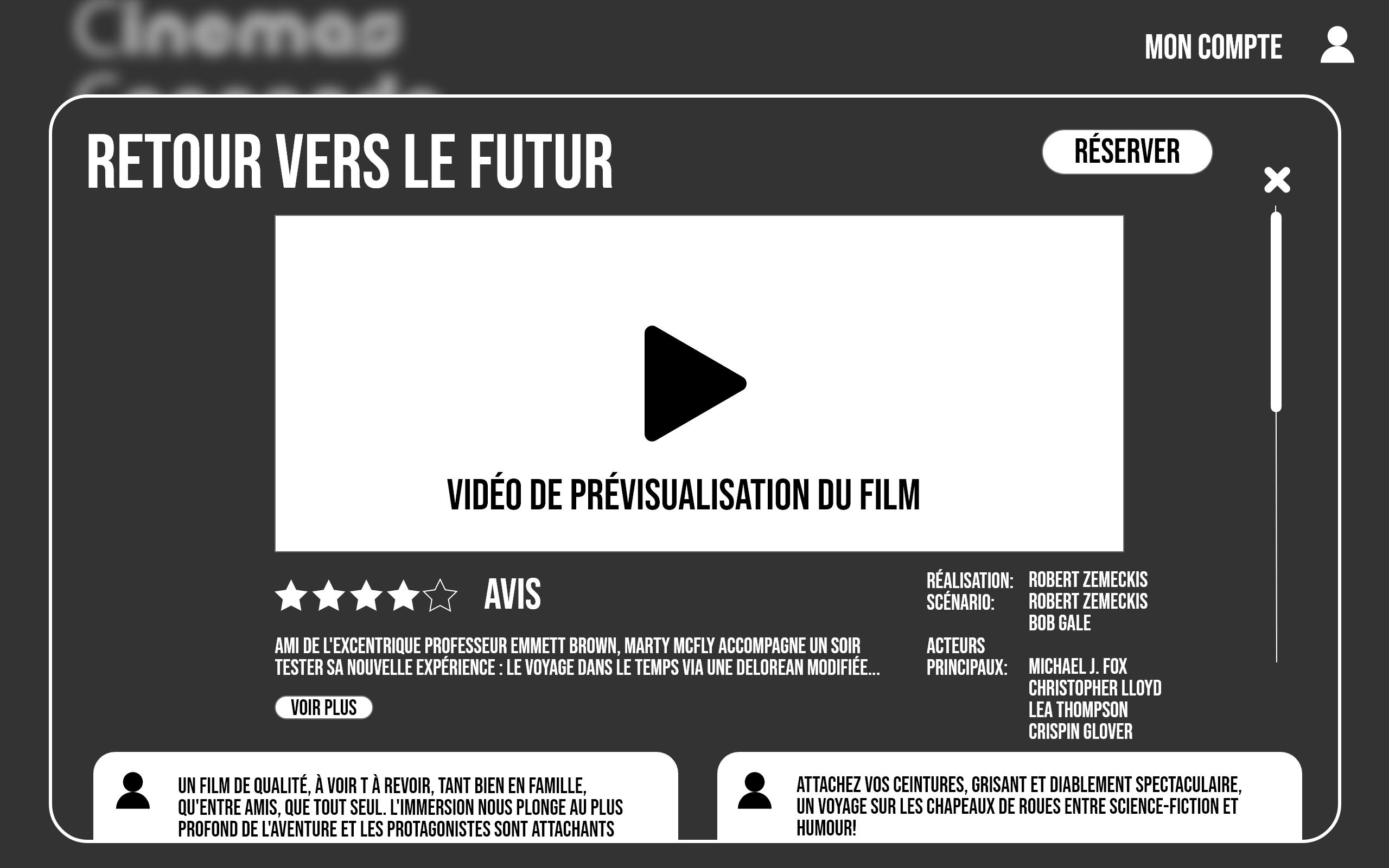 """Prototypage de la section """" Résumé """" des films"""